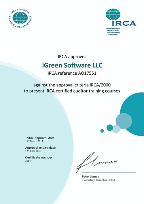 IRCA Certificate of iGreen Software