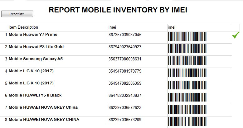 Print of Inventory by IMEI in iGreen accounting software