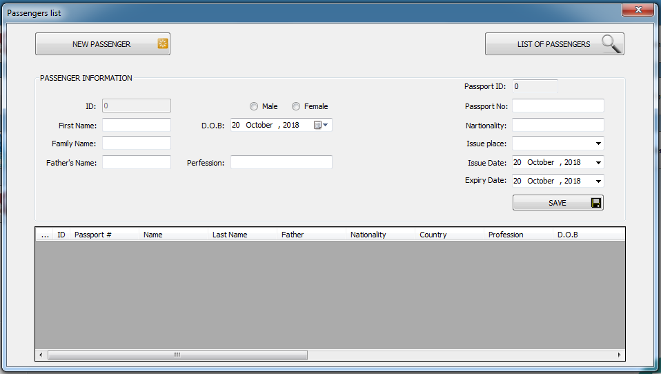 passenger form in iGreen air agency software