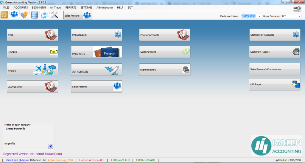Screenshot of Main screen of iGreen 2.3.0.2 - Air agency Mode